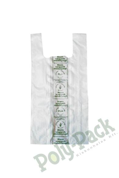 Kukoricakeményítő alapú (EN13432) PLA natúr ingvállas tasak 190x450x0,008 mm (4000 db/karton)